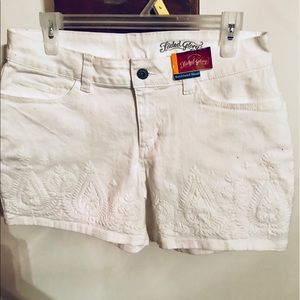 White Front-Laced Boyfriend Shorts